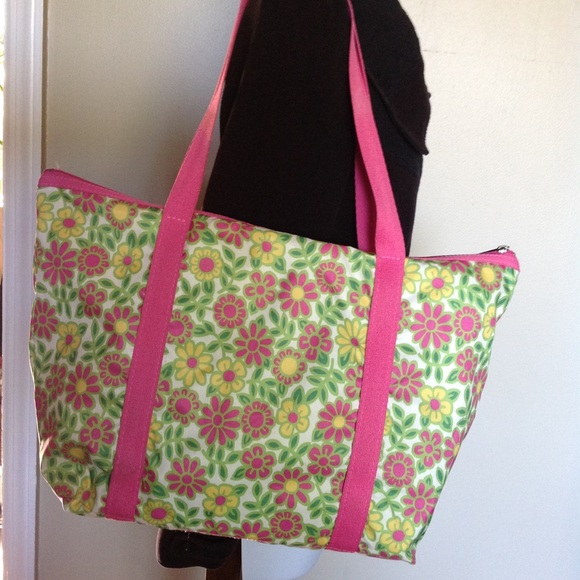 SOLD LESPORTSAC large floral tote green pink